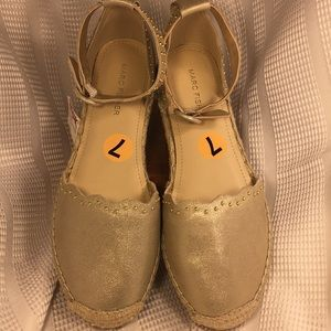 NWT Marc Fisher leather espadrilles ankle strap